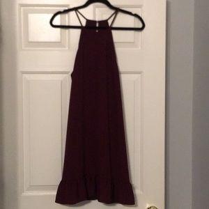 Burgundy flounce dress